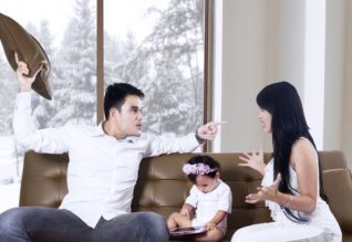 Parents fighting in front of child