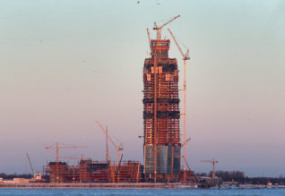 "ST PETERSBURG, RUSSIA - NOVEMBER 29, 2016: The construction site of Lakhta Center, Russia's and Europe's tallest skyscraper (462m) which is going to house Gazprom's headquarters, in Primorsky District of St Petersburg, on the northern shore of the Gulf of Finland. Peter Kovalev/TASSÐîññèÿ. Ñàíêò-Ïåòåðáóðã. 30 íîÿáðÿ 2016. Âèä íà îáùåñòâåííî-äåëîâîé êîìïëåêñ ""Ëàõòà-Öåíòð"". Ïåòð Êîâàëåâ/ÒÀÑÑ"